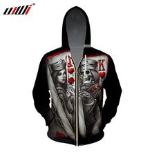 UJWI Zipper Hoodies Print Queen King Poker Skull 3D Sweatshirt Man Long Sleeve Hooded