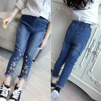 Cute Flower Pattern Kids Jeans Spring Summer Lovely High Quality Children Pants Casual Tassel Denim Trousers