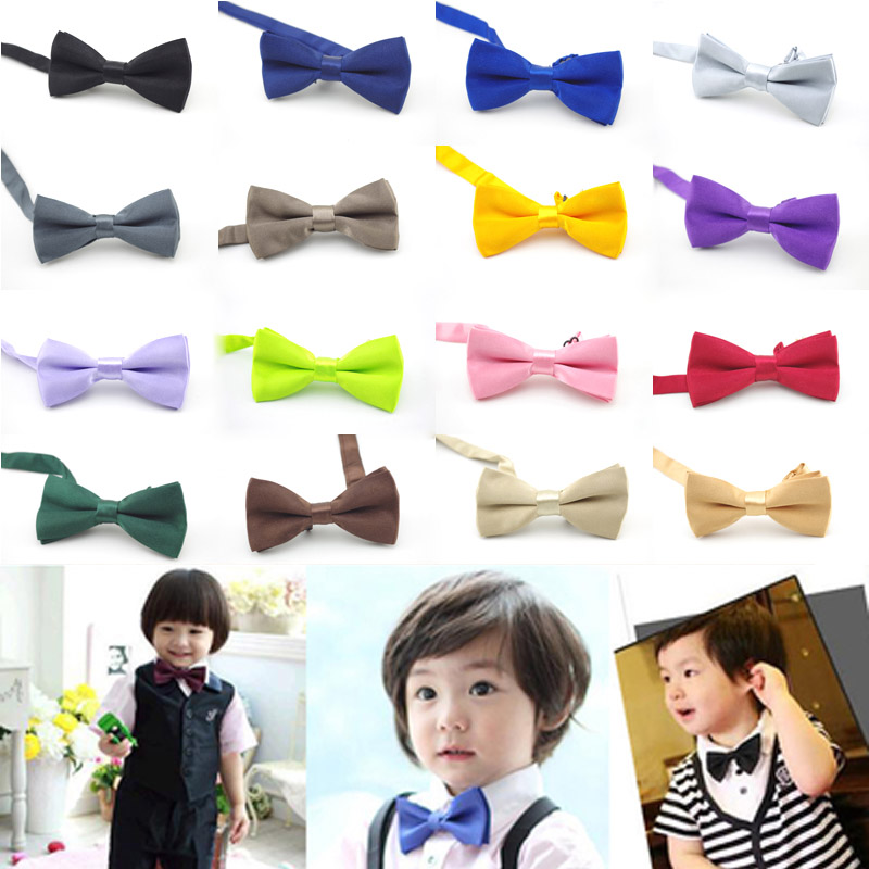 Fashion Children Kids Boys Pure Plain Satin Novelty Wedding Bow Tie Bow Tie