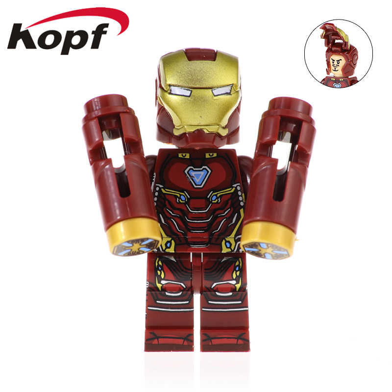 50Pcs XH 973 Building Blocks Super Heroes Iron Man Chost Rider Ulysses Klaw Bricks Action Figures