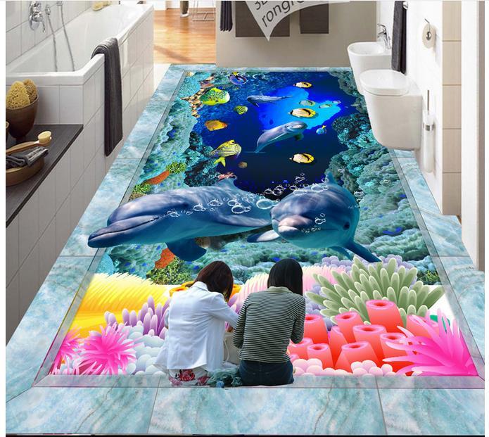3d papier peint personnalisé 3d plancher peinture papier peint peintures murales Hd 3 d océan monde dauphin sol carrelage peinture photo papier peint
