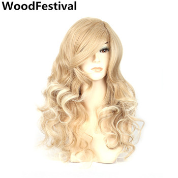 цена на WoodFestival Heat Resistant Synthetic Wig with bangs Cosplay Long Black Red Mix Color Curly Blonde Wigs for Women Hair