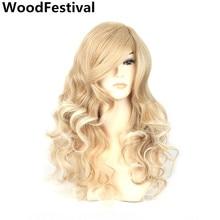 kvinnor peruker naturligt hår värmebeständigt 26 tum lång lockigt peruk svart röd ombre blond peruk syntetiska peruker med pärlor WoodFestival