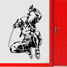Deadpool Wall Decal Superhero Stickers Marvel Comics Art Vinyl Children Room Decoration Waterproof DIY A313