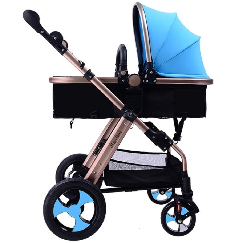 Jiaobei 3 Modes poussette bébé pliable haute vue, cadre en Aluminium de qualité aéronautique, roue de pneu Non pneumatique