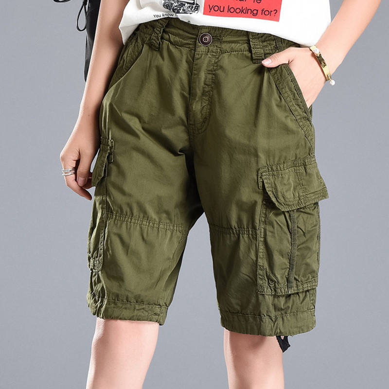 Plus Size 2018 Summer Men/Womens Army Green Loose Jeans Trousers Multi-Pocket Denim Military Shorts Cargo Pants Pantalon Femmes
