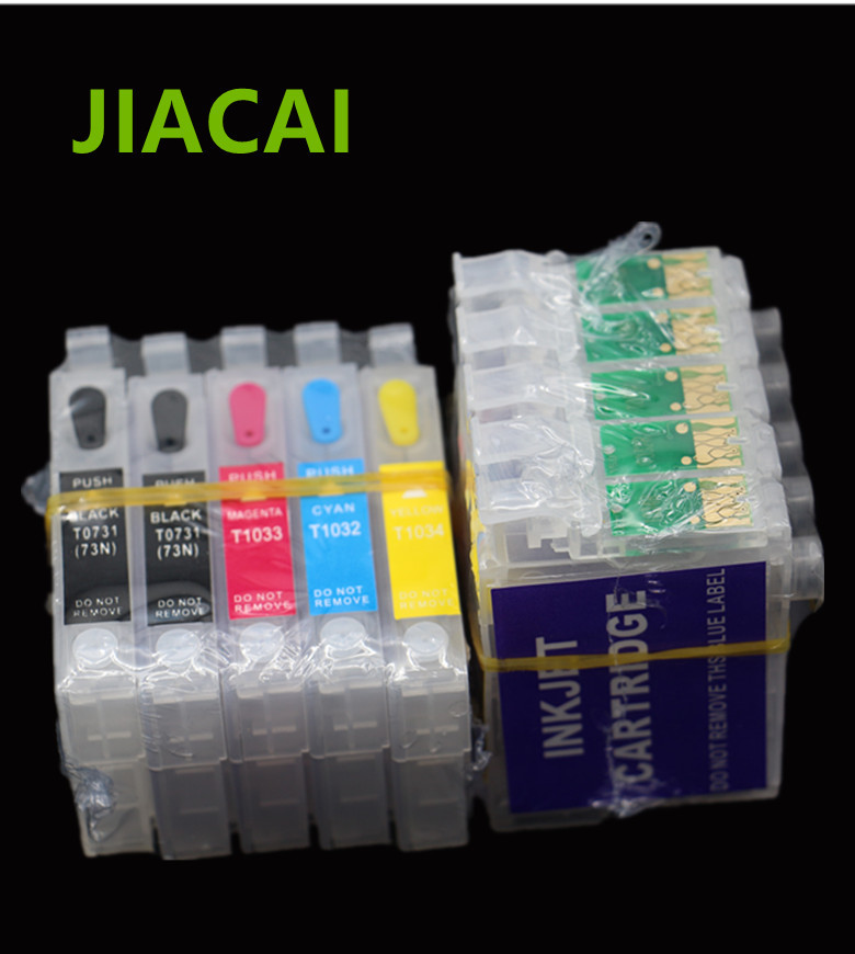 1Set Refillable Ink Cartridge For Epson T1110 TX515FN Printer For T0731 T0731 T1032 T1033 T1034 Cartridges with ARC Chip