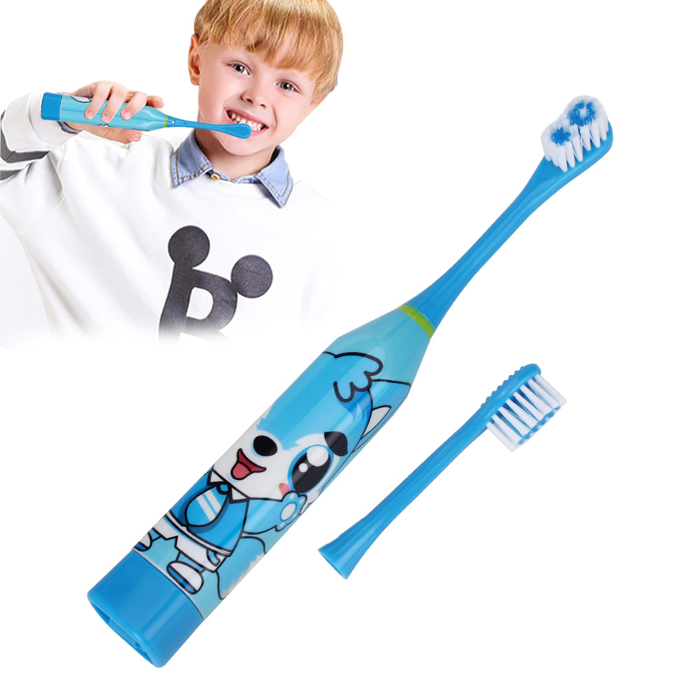 AZDENT Children Electric Toothbrush with 2 pcs Heads Battery Type Cartoon Pattern Teeth Brush Electric Tooth Brush For Kids