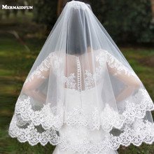Фата свадебная короткая с гребнем, двухслойная Тюлевая, с кружевными краями, с блестками, для невесты, Белый/цвет слоновой кости, 2 T