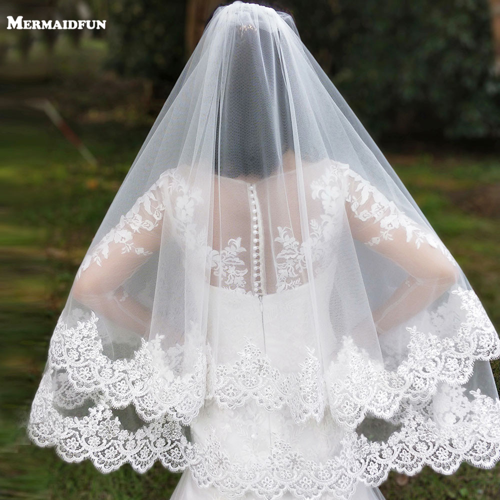 New Arrival 2 Layers Sequins Lace Edge Short Woodland Wedding Veils with Comb 2 T White Ivory Tulle Bridal Veils 2019-in Bridal Veils from Weddings & Events