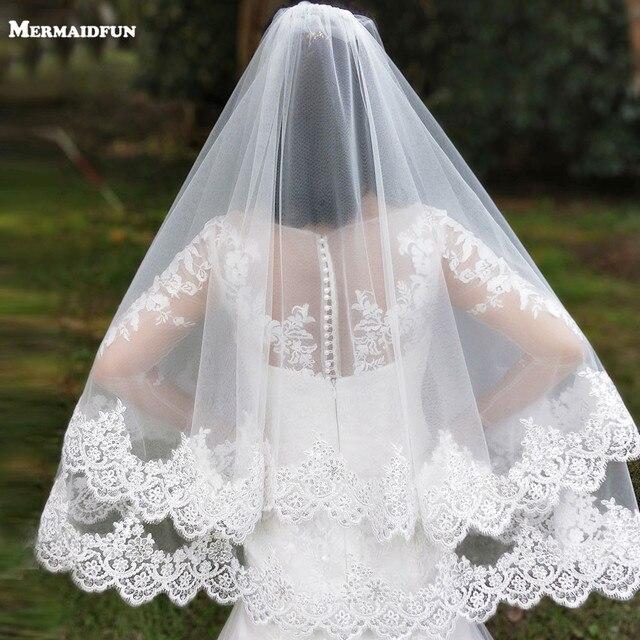Nieuwe Collectie 2 Lagen Pailletten Lace Edge Korte Woodland Bruiloft Sluiers Met Kam 2 T Wit Ivoor Tulle Bridal Veils