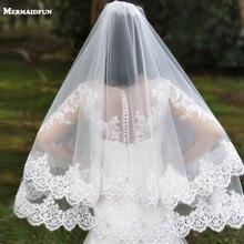 Recién llegado, velos de boda de 2 capas de lentejuelas con borde de encaje corto bosque con peine, velos de novia de tul blanco marfil 2 T