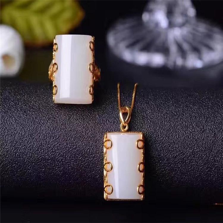 Naturale e Tian Baiyu vestito S925 Sterling Silver Inlay Anello Dei Monili Del PendenteNaturale e Tian Baiyu vestito S925 Sterling Silver Inlay Anello Dei Monili Del Pendente