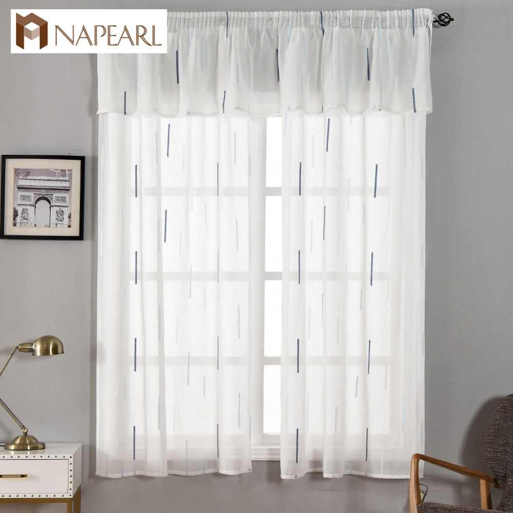 NAPEARL Pull Pleated Tape Organza Sheer Curtain for Kitchen Short Tulle Drapes Set Valance Home Decor Panel White Jacquard Cloth