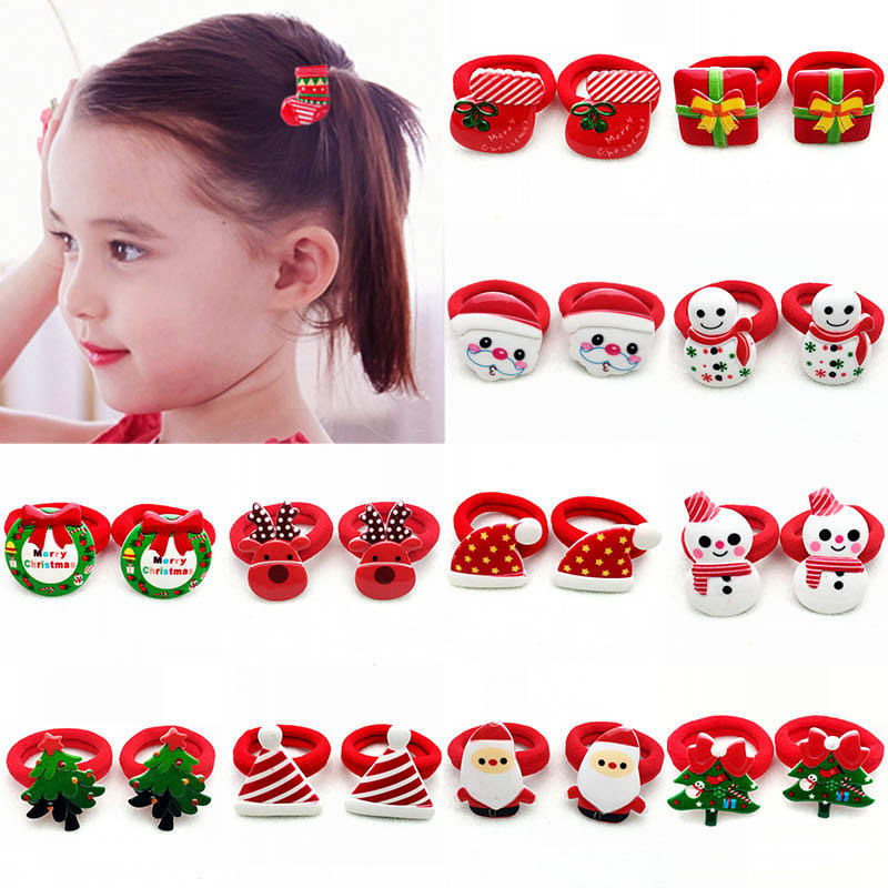 iMucci Fashion Kids Girls Lovely Christmas Children Santa Claus Tree Elastic Rubber Bands Hair Rope Lovely Hair Accessories