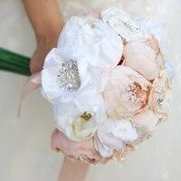 Apricot Peony diamond bridal bouquet high end custom wedding bouquets Artificial flower ribbon flower Bride 's peonies Bouquet