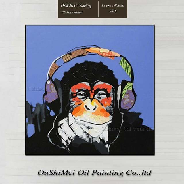 1f66c8d09be2 placeholder 100% Hand Painted Oil Painting Abstract Animal Paintings Funny  Monkey Painting For Living Room Decor