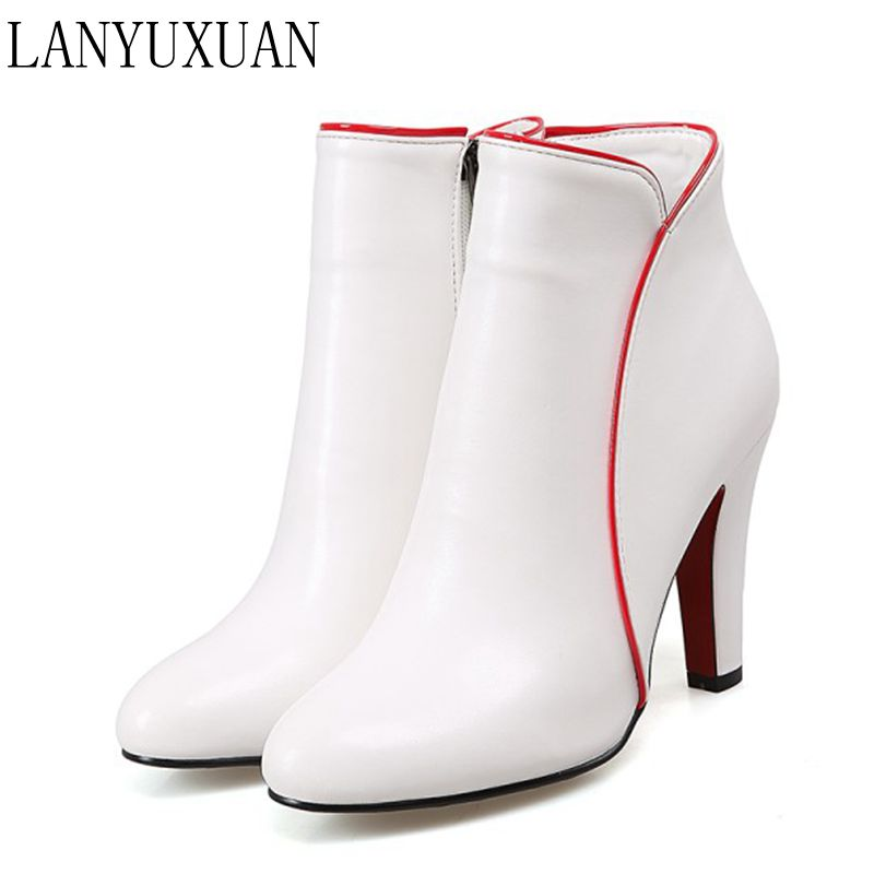 LANYUXUAN Big size 34-48 New Round Toe Boots Women Sexy Ankle Boots Heels Fashion Winter Spring Autumn Shoes Casual Zip 622-1 enmayla ankle boots for women low heels autumn and winter boots shoes woman large size 34 43 round toe motorcycle boots