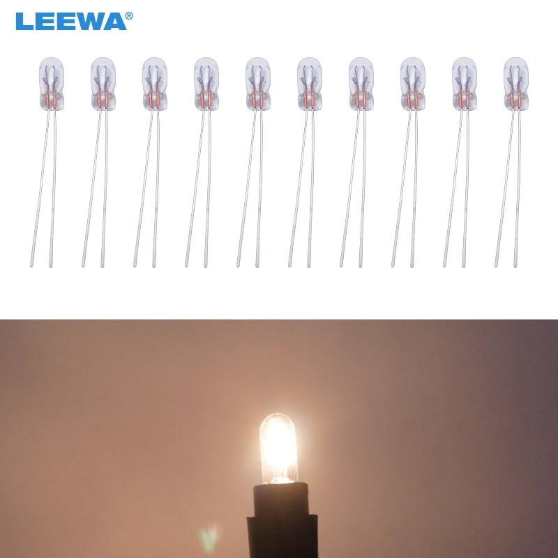 LEEWA 10pcs Car T3 12V 30MA Halogen Bulb External Halogen Lamp Replacement Dashboard Bulb Light Warm White #CA2687