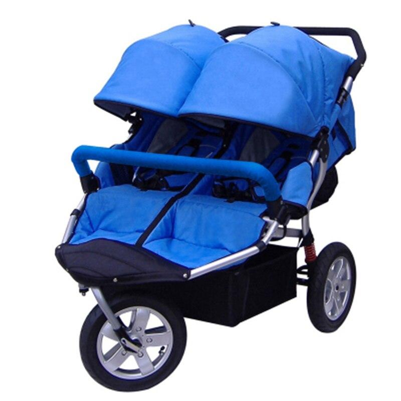 Carrinho de bebê gêmeo absorvedor de choque roda inflável pode sentar reclináveis bebê criança duplo carrinho de criança