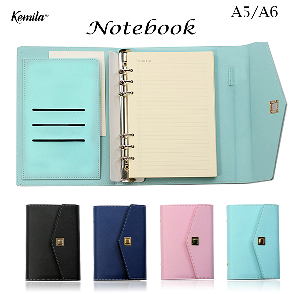 где купить A5/A6 Cute Leather Spiral Notebook Stationery office Person Binder Daily Weekly Planner/time Agenda Organizer по лучшей цене