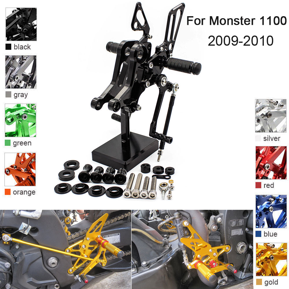 CNC Aluminum Adjustable Rearsets Foot Pegs For Ducati Monster 1100 1100S 2009 2010