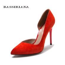 Туфли женские на каблуке Натуральная кожа Красный Розовый Черный Русские размеры 35-40 Обувь женская Бесплатная доставка BASSIRIANA