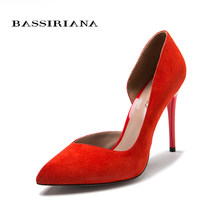 High heels pumps Natural suede leather New spring summer 2017 Red Black 35-40 Fashion Basic shoes woman Free shipping BASSIRIANA(China)