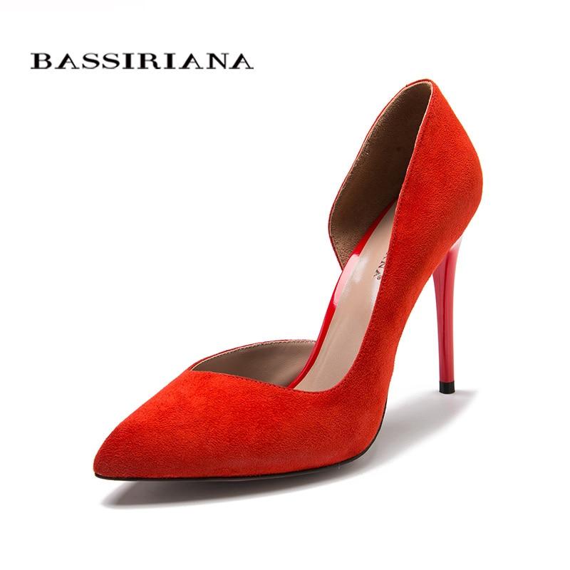 Zapatos de tacón alto de cuero de gamuza Natural nuevo Primavera Verano 2017 Rojo Negro 35-40 moda Zapatos básicos mujer envío gratis BASSIRIANA
