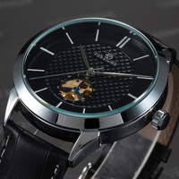 FORSINING Casual Men Watches Top Brand Luxury Simple Design Black Leather Band Automatic Mechanical Male Wristwatch