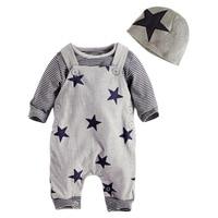 Autumn Baby Boy Clothes Set 3pcs/set Fashion Cartoon Stripe T shirt +Pants+Hat Star pattern Overall Outfits Clothing Sets