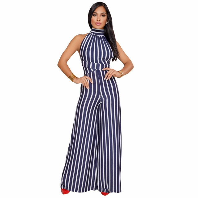 2142d7b4285 2018 Fashion Beauty Summer Rompers Women Jumpsuit Sexy Office Lady Jumpsuit  Female Striped Romper Long Trousers Bodycon Playsuit