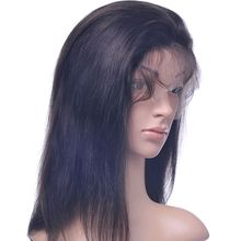 16″ Natural Color Silky Straight Brazilian Hair Front Lace Wig And Lace Closure