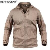 ReFire Gear Lightweight Outdoor Skin Jacket Men Summer Waterproof Camouflage Hike Hunting Jacket Hooded Windbreaker Rain Coat