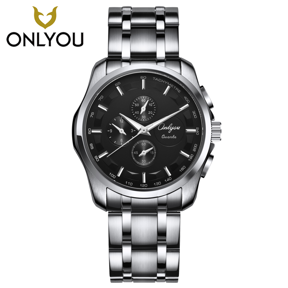 ONLYOU Sports Watch Men Stainless Steel Military Clock Waterproof Fashion Female Black Quartz Watches Casual Relogio Feminino weide new men quartz casual watch army military sports watch waterproof back light men watches alarm clock multiple time zone