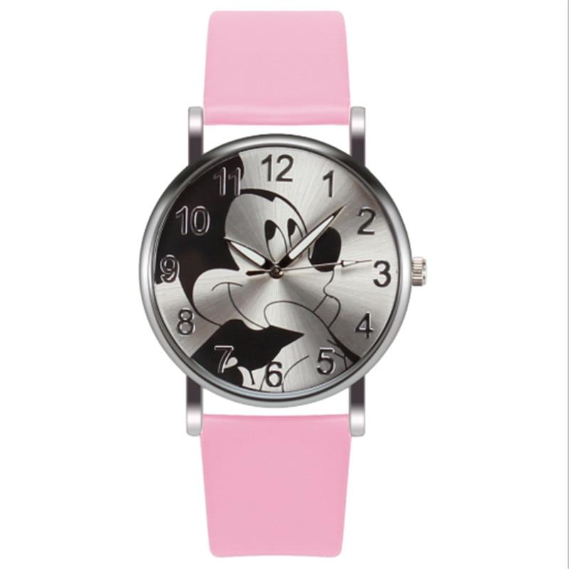 Relogio Feminino Children Watches Casual Cartoon Girl Boy Students Watch Fashion Mickey Mouse Women Leather Quartz Wrist Watches