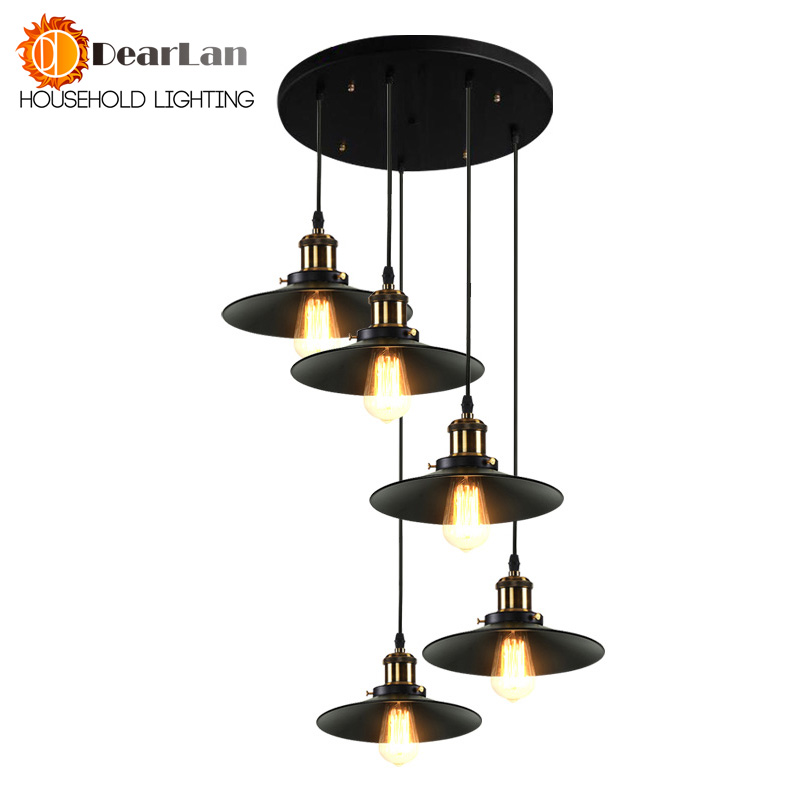 North American Style Vintage Nostalgic Bar Hanging Pendant Lights,Vintage Pendant Lamps With 1/3/5 Black 22CM Lamp Shades