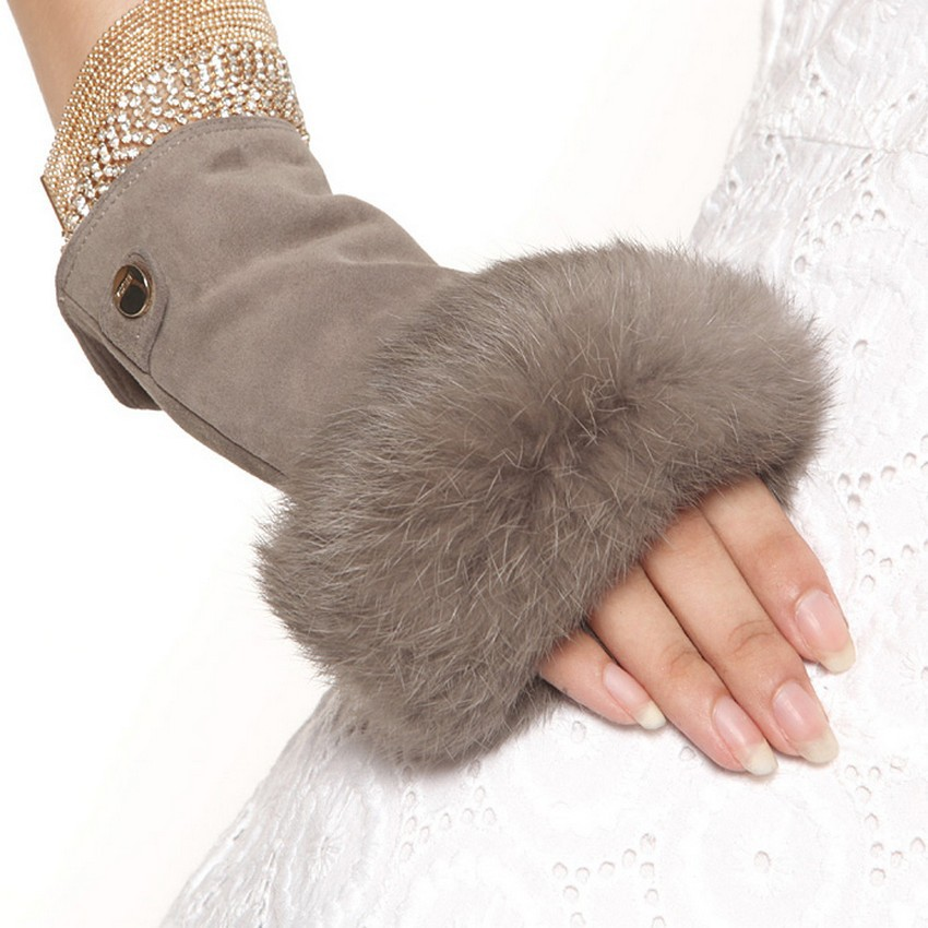 2019 Fashion Finger Less Mittens Real Genuine Leather Suede Women Gloves Solid Wrist Rabbit Fur Lady Fingerless Mitten EL019NC