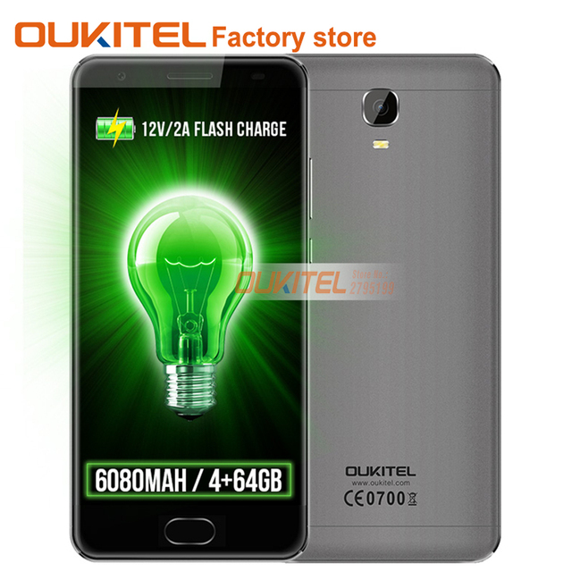 """Original OUKITEL K6000 Plus 4G 5.5""""FHD MT6750T Octa Core 4GB+64GB 6080mAh 12V/2A QC Charge 16MP Front Touch ID Smartphone"""