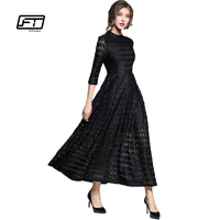 Fitaylor 2018 Autumn New High Waist Slim Temperament Grace Retro Full Dress Hollow Out Big Swing Lace A line Black Dress Woman