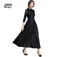 Fitaylor 2018 Autumn New High Waist Slim Temperament Grace Retro Full Dress Hollow Out Big Swing Lace A-line Black Dress Woman