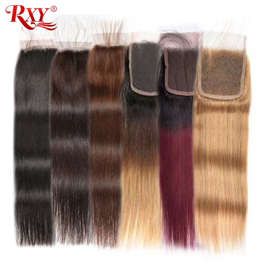 Straight Lace Closure RXY Brazilian Hair Sale Remy Human Hair Closure 1B 2 4 27 99J