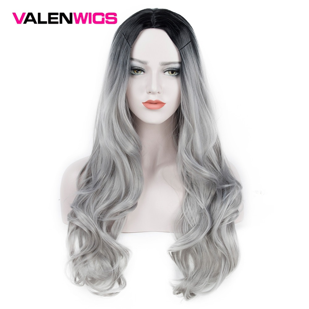 ValenWigs Ombre Wig Two Tones Black To Silver Gray Synthetic Wigs Heat Resistant Glueless Long Wavy Cosplay Hair Wigs For Women