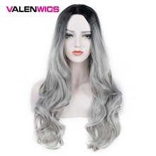 ValenWigs Ombre Wig Two Tones Black To Silver Gray Synthetic Wigs Heat Resistant Glueless Long Wavy Cosplay Hair Wigs For Women цена 2017