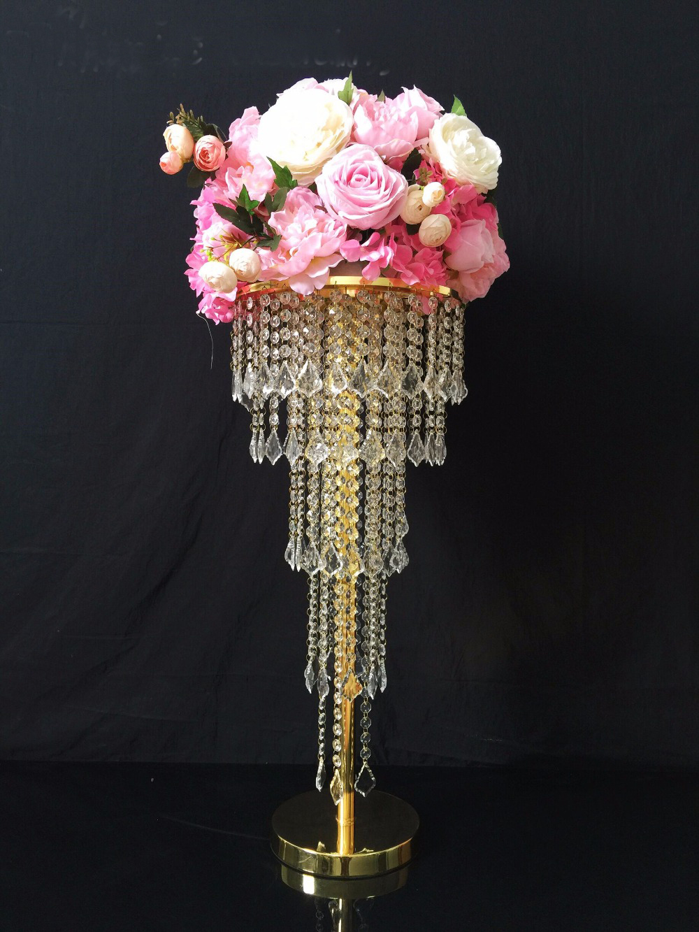 Gold Table Centerpiece Flower Stand 5 Tiers Crystal Chandelier with beads strands Wedding PropsGold Table Centerpiece Flower Stand 5 Tiers Crystal Chandelier with beads strands Wedding Props