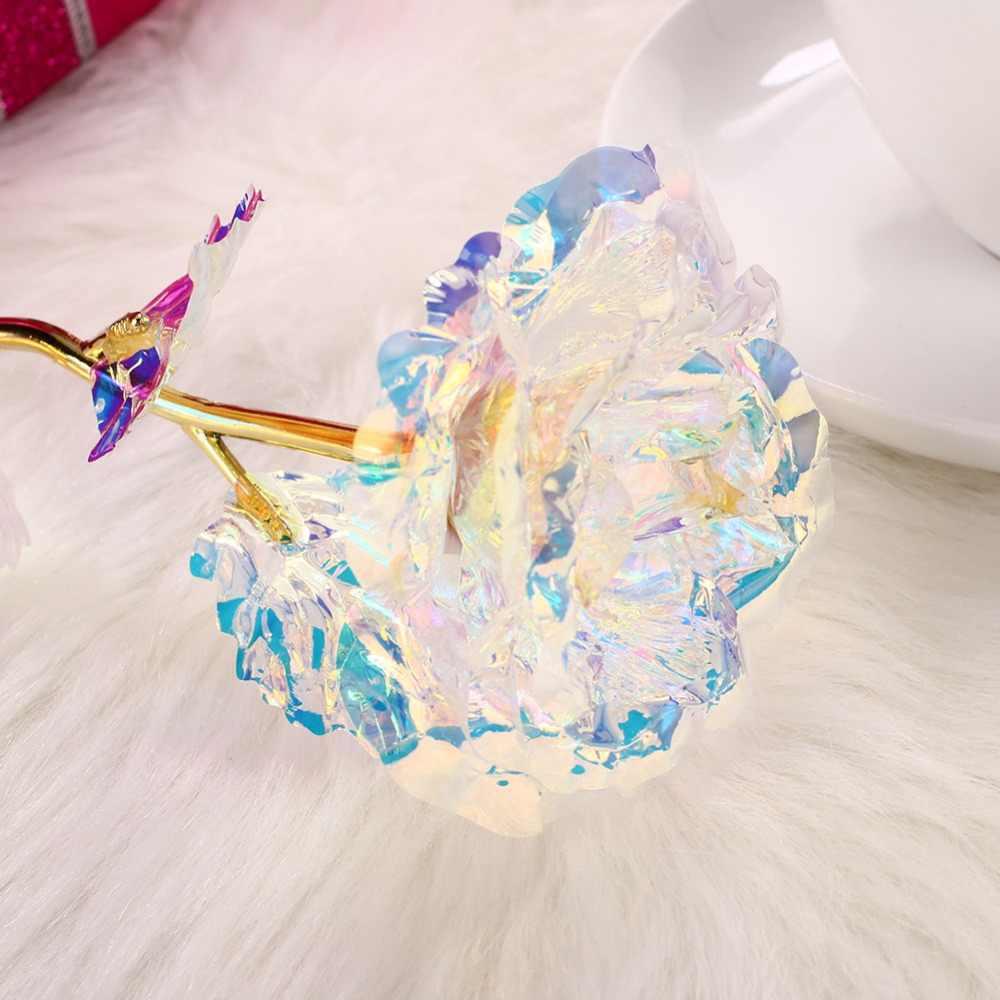 3127c7158bb8b 24K Gold Foil Flower Eternity Rose Romantic Rainbow LED luminous Rose  Flower Preserved Flower girl birthday gift mother's day