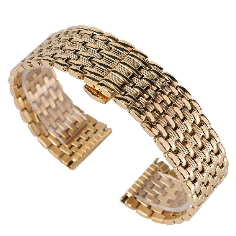 Image 2 - 18mm 20mm 22mm מוצק זהב שעון להקות רצועת השעון מתכוונן החלפת אופנה צמיד + 2 אביב בריםרצועות לשעוןשעונים -