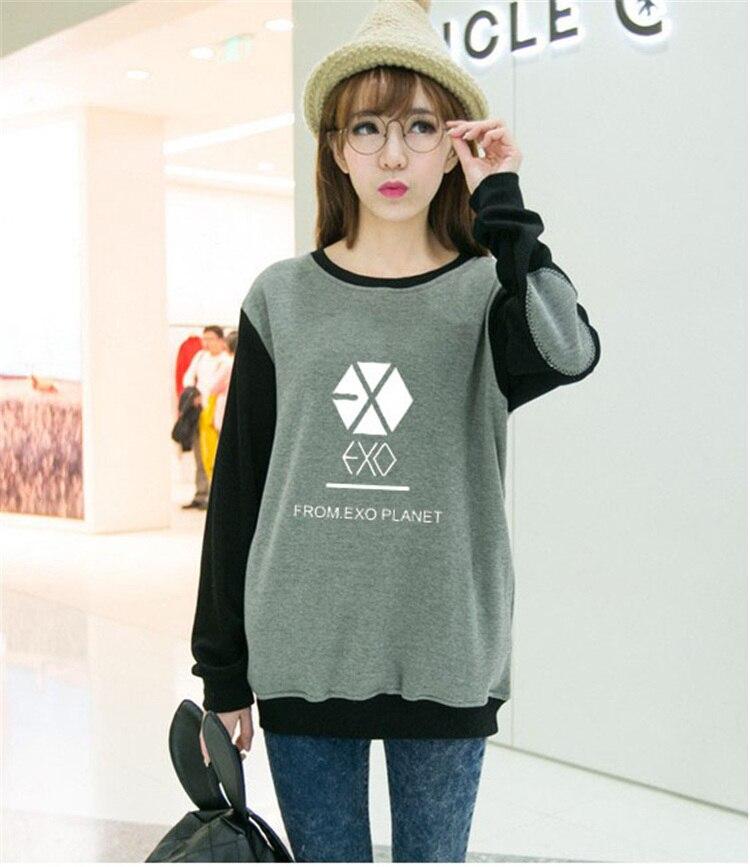 EXO PLANET Kpop mujeres del invierno del otoño de manga larga camisa femenina estudiantes de k