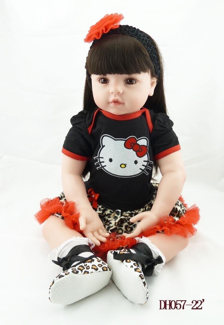 Nueva muñeca reborn de 55 cm muñeca de silicona suave reborn muñeca de pelo largo lindo bebé recién nacido juguetes niños regalo de Navidad-in Muñecas from Juguetes y pasatiempos    1