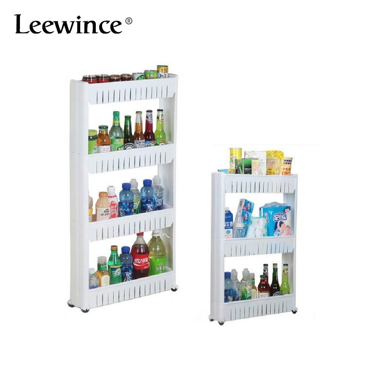 Leewince Kitchen Storage Rack Shelf Portable assembly plastic bathroom rack Multi-layer Refrigerator Side Shelf movable Wheels double celebration of finishing the cracks movable side refrigerator kitchen corner shelf plastic three shelves 1064